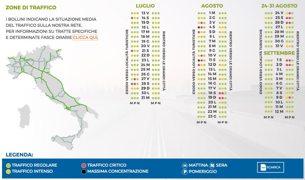 Calendario Traffico Autostrade.Calendario Traffico Estate 2018 Come Muoversi Sulle
